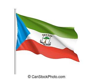 Equatorial Guinea realistic flag - Equatorial Guinea flag....