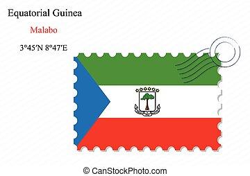 equatorial guinea stamp design over stripy background,...