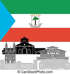 Equatorial Guinea - The national flag of the country and the...