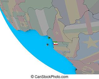 Equatorial Guinea with flag on 3D globe - Equatorial Guinea ...