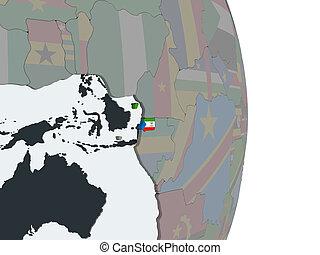 Equatorial Guinea with flag on globe - Equatorial Guinea on ...