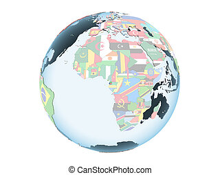 Equatorial Guinea with flag on globe isolated - Equatorial ...