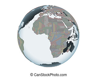 Equatorial Guinea with flag on globe isolated