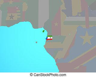 Equatorial Guinea with flag on map - Equatorial Guinea with ...