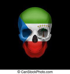 Equatorial Guinean flag skull - Human skull with flag of ...