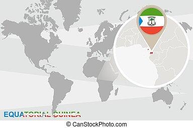equatorial, mundo, guiné, ampliado, mapa