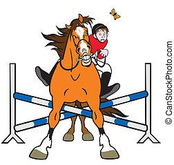 equestre, cartone animato, sport