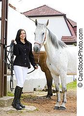 equestre, con, cavallo