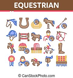 Equestrian Animal Collection Icons Set Vector