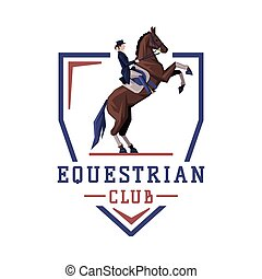 Equestrian Club Logo Design, Jockey Riding with Jumping Horse, Competition, Tournament Label, Emblem Vector Illustration