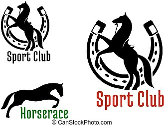 Equestrian club or horse race sport icons - Graceful jumping...
