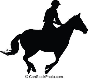equestrian horse rider silhouette black on white background