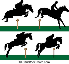 equestrian sport of jumping over obstacles
