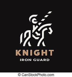 Equestrian knight, linear logo, symbol on a dark background. Vector illustration.