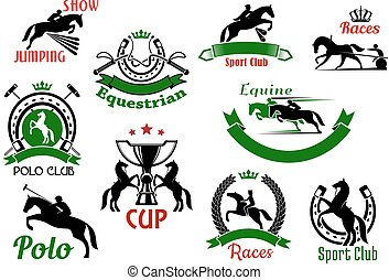 Equestrian or horse racing sport icons