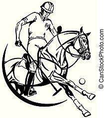 equestrian polo club emblem - polo player sitting on a pony...