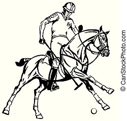 equestrian polo player on a pony horseback - equestrian polo...