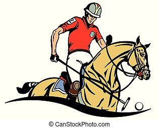 equestrian polo sport emblem - Equestrian polo player and...