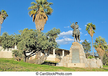 Equestrian rider monument and Alte Feste in Windhoek -...