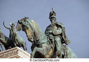 Equestrian sculpture of Victor Emmanuel II, Altare della Patria, Piazza Venezia, Rome, Italy