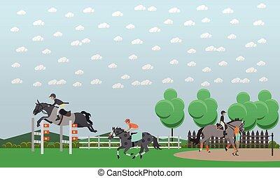 Equestrian show jumping flat vector illustration