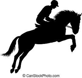Equestrian sport silhouettes - Rider on a horseback vector...