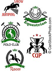 Equestrian sport symbols for competitions design - Horse...