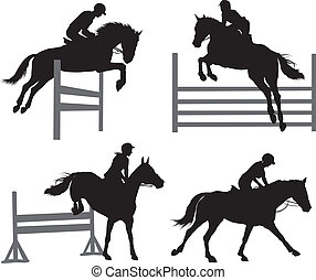 Equestrian sports set - Horses jumping a hurdle. Vector...