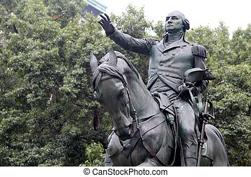 Equestrian statue of General George Washington, in the south...