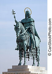 Equestrian statue of King Saint Stephen at the Fishermans Bastion on the Castle hill  in Budapest, Hungary