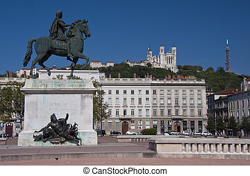 equestrian statue of louis xiv at place bellecour - view of ...