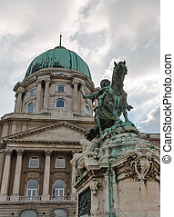 Equestrian statue of Savoyai Eugen in Buda Castle. Budapest, Hungary.