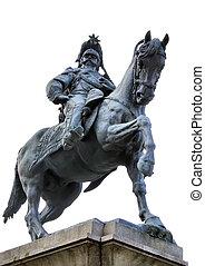 equestrian statue of Victor Emmanuel II in Novara, Italy