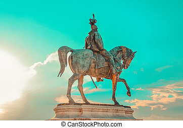 Equestrian statue of Victor Emmanuel II, which is mounted on the Vittorio Emanuele II Monument (Vittoriano) in Rome, Italy