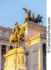 Equestrian statue of Vittorio Emanuele II - Monument Vittoriano or Altare della Patria. Rome, Italy. Morning sunrise time