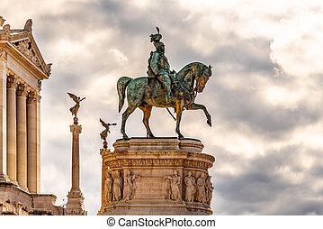 Equestrian statue of Vittorio Emanuele II - Monument Vittoriano or Altare della Patria. Rome, Italy