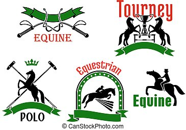 Equestrian tournament, polo or equine club symbol - Jumping...