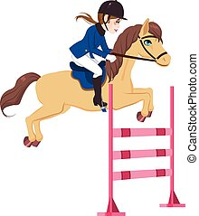 Equestrian Woman Jumping Horse - Equestrian young woman ...