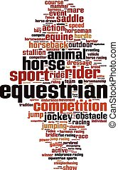 Equestrian word cloud concept. Vector illustration