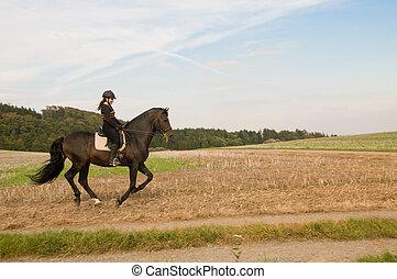 equestrienne, e, uno, horse.