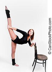 equilíbrio, fazer, mulher, exercício, condicão física