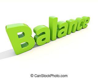 equilíbrio, palavra, 3d