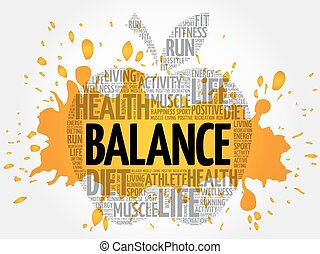 equilíbrio, palavra, maçã, nuvem