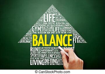 equilíbrio, palavra, seta, nuvem