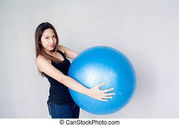 equilíbrio, tailandês, bola, menina, segurando