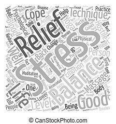 equilíbrio, texto, tensão, fundo, técnicas, seu, alívio, vida, conceito, wordcloud