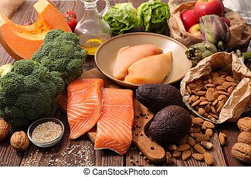 equilibrado, alimento, concepto, dieta