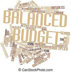 equilibrado, palabra, presupuesto, nube