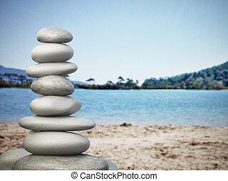 equilibrado, pedras, praia