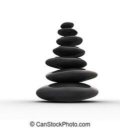equilibrado, seixos, zen, fila